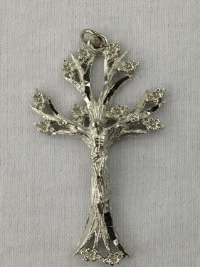 Photo of RHODIUM FINISH TREE OF LIFE CRUCIFIX 2.125 100
