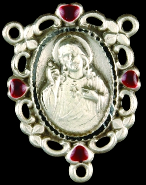 Photo of STERLING SILVER SACRED HEART CENTERPIECE - RUBY TIPS 1313RU