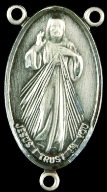 Photo of STERLING SILVER DIVINE MERCY W/ FAUSTINA ON BACK CENTER 1329