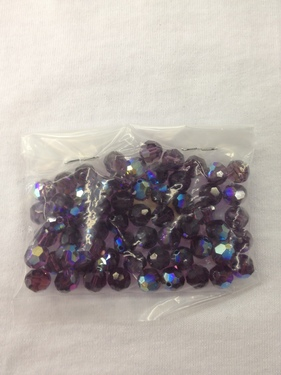 Photo of AMETHYST 8MM FACETED SWAROVSKI CRYSTAL BEADS WITH AURORA BOREALIS COATING 619AM