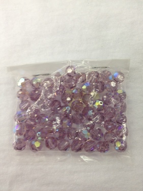 Photo of LIGHT AMETHYST 8MM FACETED SWAROVSKI CRYSTAL BEADS WITH AURORA BOREALIS COATING 619LAM
