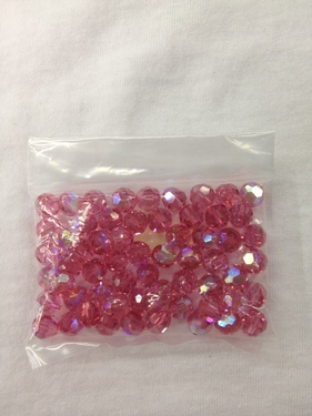Photo of ROSE 8MM FACETED SWAROVSKI CRYSTAL BEADS WITH AURORA BOREALIS COATING 619RO