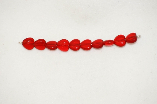 Photo of RED 8MM GLASS HEART BEADS 673