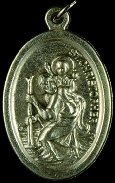 Photo of OXIDIZED ST CHRISTOPHER MEDAL 704C
