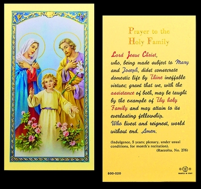 Photo of PRAYER TO HOLY FAMILY 800-020