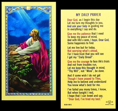 Photo of MY DAILY PRAYER HOLY CARD 800-081
