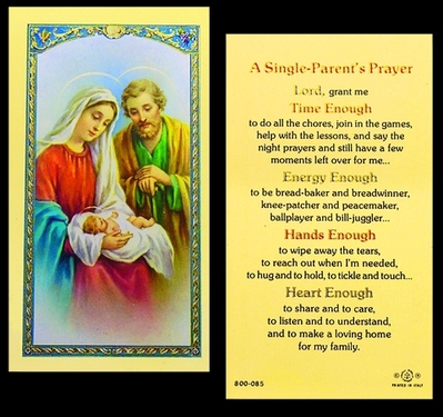 Photo of A SINGLE PARENT'S PRAYER LAMINATED HOLY CARD 800-085