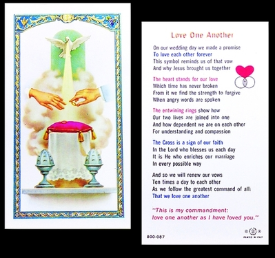 Photo of LOVE ONE ANOTHER-WEDDING LAMINATED HOLY CARD 800-087
