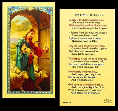 Photo of TIME OF LOSS - GOOD SHEPHERD LAMINATED HOLY CARD 800-093