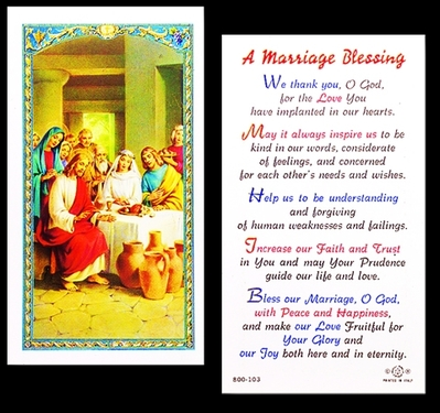 Photo of A MARRIAGE BLESSING LAMINATED HOLY CARD 800-103