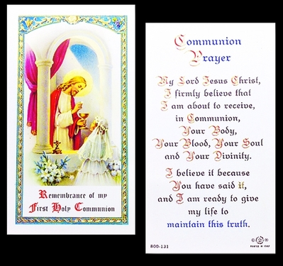 Photo of FIRST COMMUNION LAMINATED HOLY CARD FOR A GIRL 800-131