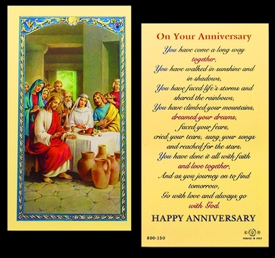 Photo of ON YOUR ANNIVERSARY LAMINATED HOLY CARD 800-150