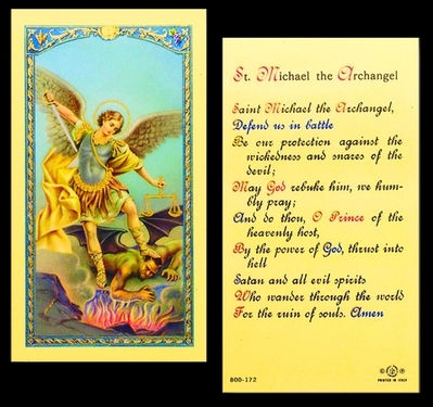 Photo of PRAYER TO ST. MICHAEL LAMINATED HOLY CARD 800-172