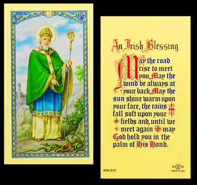 Photo of AN IRISH BLESSING - ST PATRICK LAMINATED HOLY CARD 800-222