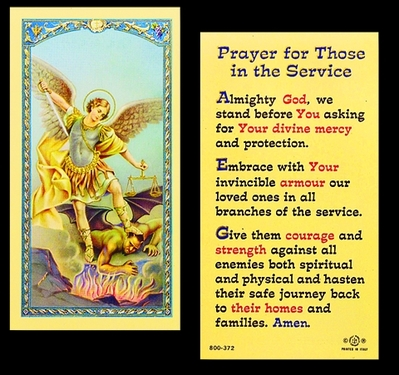 Photo of PRAYER FOR THOSE IN THE SERVICE LAMINATED HOLY CARDS 800-372