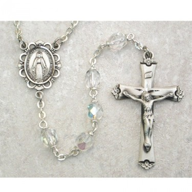 Photo of SS 6MM AB CRYSTAL/APR ROSARY WITH VELVET BOX 875L-APR