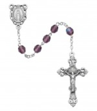 Photo of SS 6MM AB DK AMETHYST/FEB ROSARY WITH VELVET BOX 875L-FEB
