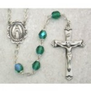 Photo of SS 6MM AB ENERALD/MAY ROSARY WITH VELVET BOX 875L-MAY