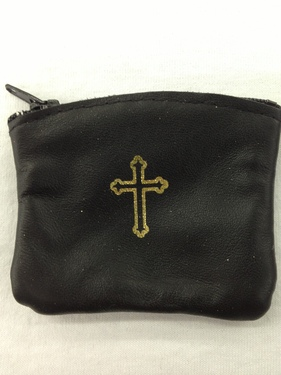 Photo of BLACK LEATHER ZIPPER ROSARY CASE 905BK